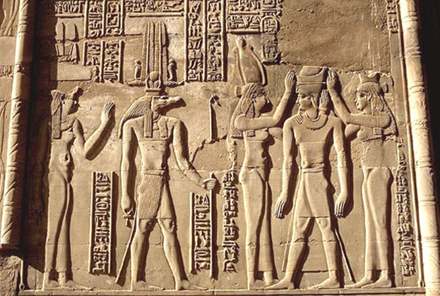 Of Egyptian myths with the goddess Isis and crokodile god Sobek. Relief, Temple of Kom Ombo