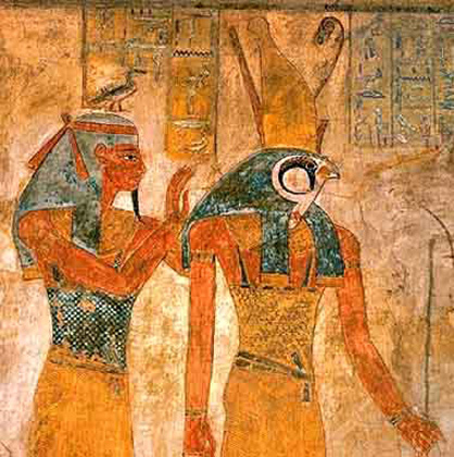 Pharaoh's spiritual guide is Horus. Cultic initiation scene. Fresco in Egyptian king's tomb