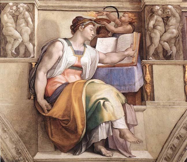 The Erythraean Sibyl with her wisdom books, painted by Michael Angelo in the Sistine Chapel, 1510